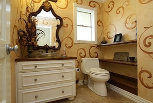 Eclectic Powder Room with Raised panel, Wood counters, Powder room, Vessel sink