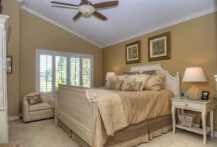 Cottage Guest Bedroom with Ceiling fan, flush light, Carpet, Standard height, Crown molding, Casement