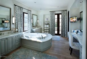 Contemporary Master Bathroom with Inset cabinets, Ave six kendall tufted chair, French doors, Complex marble counters
