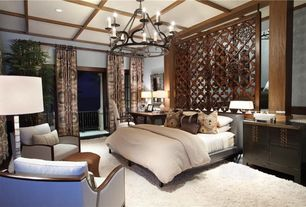 Contemporary Master Bedroom with Box ceiling, Carpet, Chandelier