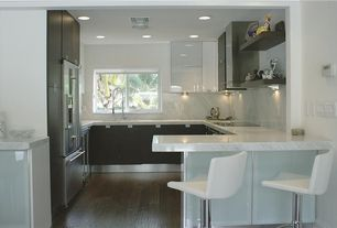 Contemporary Kitchen with Simple Marble, Destiny: slab cabinets, European Cabinets, Simple marble counters, U-shaped, Flush