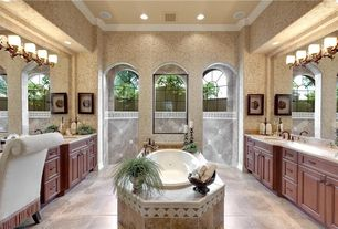 Traditional Full Bathroom with Framed Partial Panel, Simple Marble, Arched window, stone tile floors, Raised panel, Bathtub