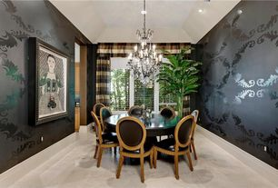 Contemporary Dining Room with Chandelier, High ceiling, interior wallpaper, simple marble floors, can lights, Casement