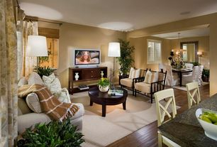 Contemporary Great Room with Chandelier, Laminate floors, Carpet