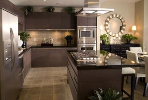 """Contemporary Kitchen with MS International 12"""" x 12"""" Honed Limestone in Gascogne Blue, Limestone Tile, Buffet table, Flush"""