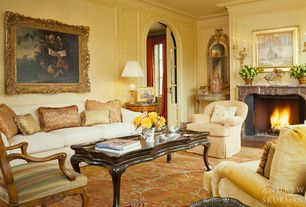 Traditional Living Room with Crown molding, Wall sconce, Hand-Carved Wood Accent Arm Chair with Antique Oak Finish, Carpet