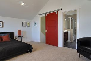 Contemporary Master Bedroom with High ceiling, Paint, can lights, Carpet, specialty door