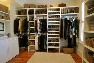 Traditional Closet with Hardwood floors, Crown molding, Built-in bookshelf