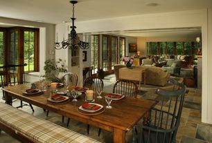 Country Dining Room with Cost plus world market rustic java greyson fixed dining table, Chandelier, picture window, Casement