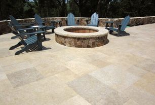 Country Patio with Fence, exterior tile floors, exterior terracotta tile floors, Pool with hot tub