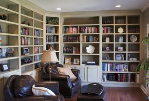 Traditional Library with Walnut - Dark of Midnight 5 3/4 in. Engineered Hardwood Wide Plank, Hardwood floors, can lights