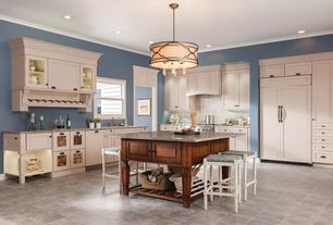 Country Kitchen with Peterson drum pendant, Simple granite counters, Breakfast bar, Glass panel, Flush, Stone Tile, L-shaped