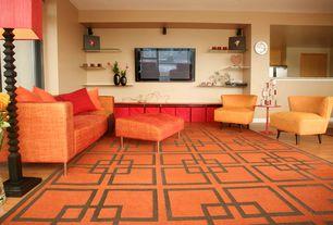 Modern Living Room with Hardwood floors, Carpet, High ceiling