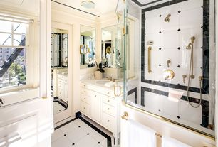 Traditional Master Bathroom with Flat panel cabinets, Simple marble counters, flush light, Crown molding, Inset cabinets