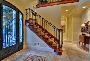 Mediterranean Staircase with Loft, High ceiling, Laminate floors