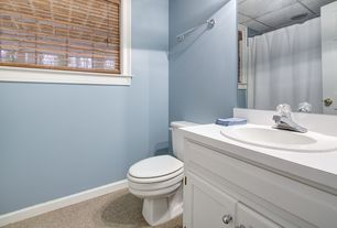 Traditional Full Bathroom with Carpet, Flat panel cabinets, Inset cabinets, Corian counters