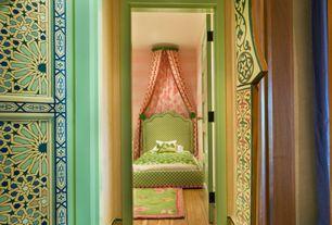 Eclectic Kids Bedroom with six panel door, no bedroom feature, Standard height, Hardwood floors, interior wallpaper