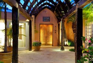 Tropical Front Door with Curved wood columns, Curved wood, Moorish style, Trellis, Glass panel door, Arbor