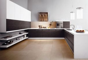 Contemporary Kitchen with Kitchen peninsula, European Cabinets, Limestone Tile, Open shelving, Paint 1, gas cooktop, U-shaped