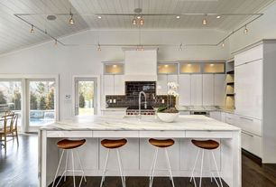Modern Kitchen with Buck lighting enzis 3 light track lighting kit, Kitchen island, L-shaped, European Cabinets, flush light