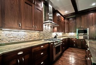 Contemporary Kitchen with Flat panel cabinets, Simple Granite, Inset cabinets, Undermount sink, Ceramic Tile, Exposed beam