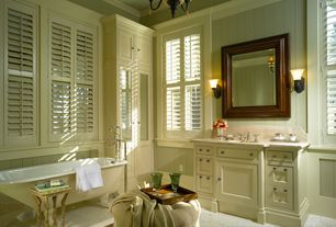 Country Master Bathroom with Wainscotting, Master bathroom, Window shutters, Glass panel, Crown molding, Inset cabinets