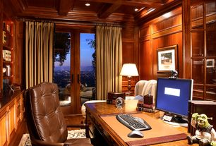 Traditional Home Office with Hardwood floors, Standard height, Exposed beam, Crown molding, can lights, Built-in bookshelf