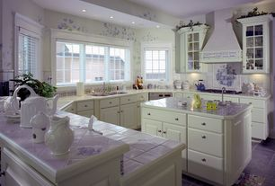 Eclectic Kitchen with Raised panel, Art on Tiles Toile de Jouy Blue and White, Large Ceramic Tile, Glass panel, U-shaped