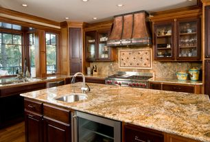 Rustic Kitchen with Wine refrigerator, Undermount sink, Glass panel, Complex granite counters, Kitchen island, L-shaped
