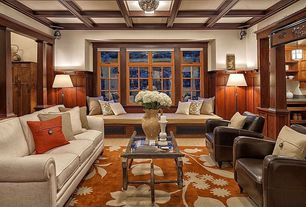 Traditional Family Room with Paint, Columns, Ave Six Venus Arm Chair, Casement, Box ceiling, Carpet, Standard height