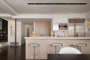 Contemporary Kitchen with Simple marble counters, Undermount sink, Breakfast bar, Flush, European Cabinets, One-wall
