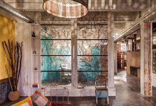 Eclectic Living Room with Concrete floors, Standard height, Resin panel, Built-in bookshelf, Stained glass window, Paint