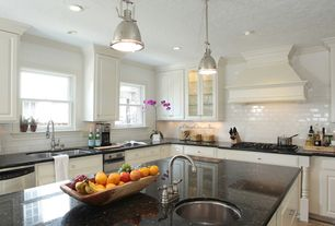 Traditional Kitchen with Parker Place Mini Pendant by Feiss, L-shaped, Subway Tile, Raised panel, limestone tile floors