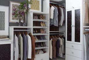 Modern Closet with Built-in bookshelf, Concrete floors