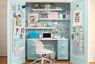Contemporary Home Office with Floating shelf, interior wallpaper, Built-in bookshelf, Chandelier, specialty door