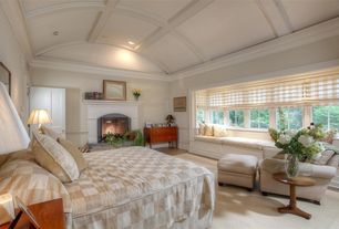 Traditional Master Bedroom with Window seat, Flat panel roman shades, Hardwood floors, Crown molding, Box ceiling, Chair rail