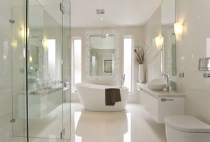 Contemporary Master Bathroom with carrara bianco square 1x1 polished marble mosaic tile, frameless showerdoor, Vessel sink
