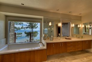 Contemporary Master Bathroom with European Cabinets, Travertine counters, frameless showerdoor, Master bathroom, Flush