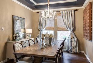 Traditional Dining Room with Salvaged wood trestle rectangular extension dining table, Crown molding, Hardwood floors