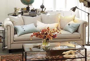 Cottage Living Room with Ikea - vittsjo coffee table, Paint, Pinstripe sofa, West elm - industrial task floor lamp