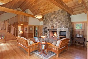 Craftsman Living Room with stone fireplace, Standard height, Loft, Eldorado stone country rubble polermo, French doors