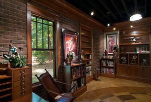 Craftsman Home Office with interior brick, Built-in bookshelf, Exposed beam, High ceiling, Pendant light, Crown molding