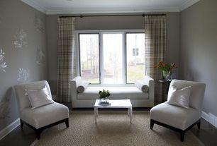Traditional Master Bedroom with interior wallpaper, Casement, Crown molding, Standard height, picture window, Hardwood floors
