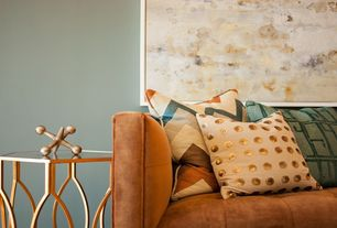 Contemporary Living Room with Anthropologie luminous dots pillow, Bronson design jack antique brass sculpture, small