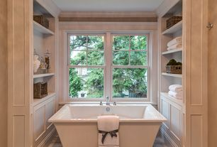 Traditional Master Bathroom with Master bathroom, Zurich freestanding bath tub, Freestanding, Crown molding, Hardwood floors