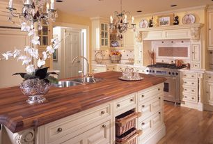Traditional Kitchen with Glass panel, can lights, Raised panel, Ceramic Tile, full backsplash, Complex marble counters