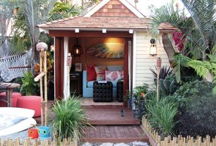 Tropical Guest Bedroom with Cedar shingles, Bamboo border edging natural, Outdoor pocket panel