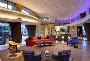 Modern Great Room with Pendant light, High ceiling, Concrete tile , Sensations red microfiber sofa