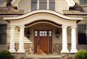 Craftsman Front Door with exterior stone floors, Glass panel door
