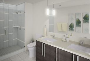 Contemporary 3/4 Bathroom with Simple marble counters, frameless showerdoor, Simple Marble, Wall sconce, Undermount sink